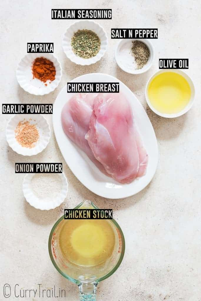 all ingredients to make instant pot chicken breasts
