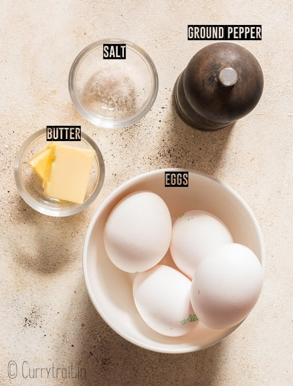 all ingredients to make scrambled eggs