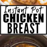 juicy tender chicken breasts cooked in instant pot served over mashed potatoes with text