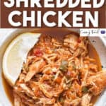 Mexican style instant pot shredded chicken in ceramic bowl with text