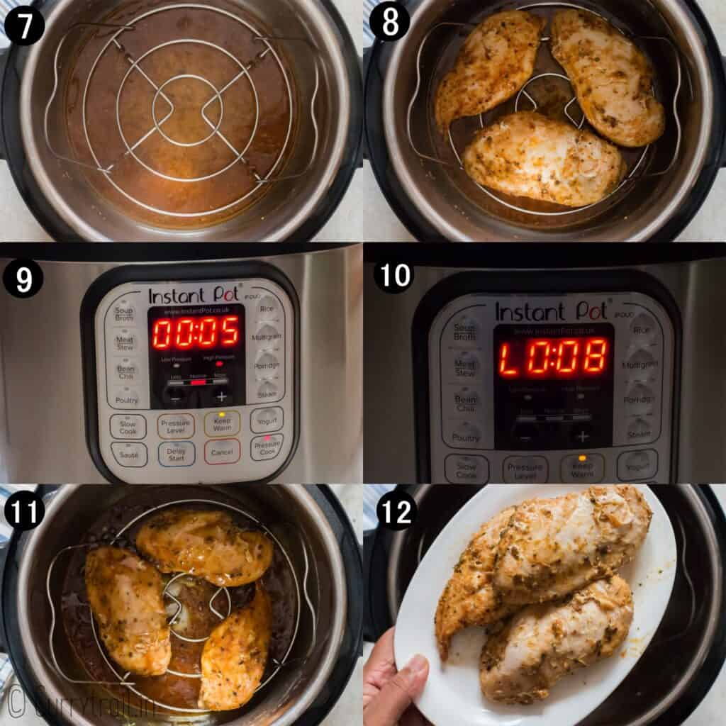 step by step instructions on how to cook chicken breasts in instant pot