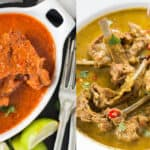 spicy mutton chops recipe in bowl and plate