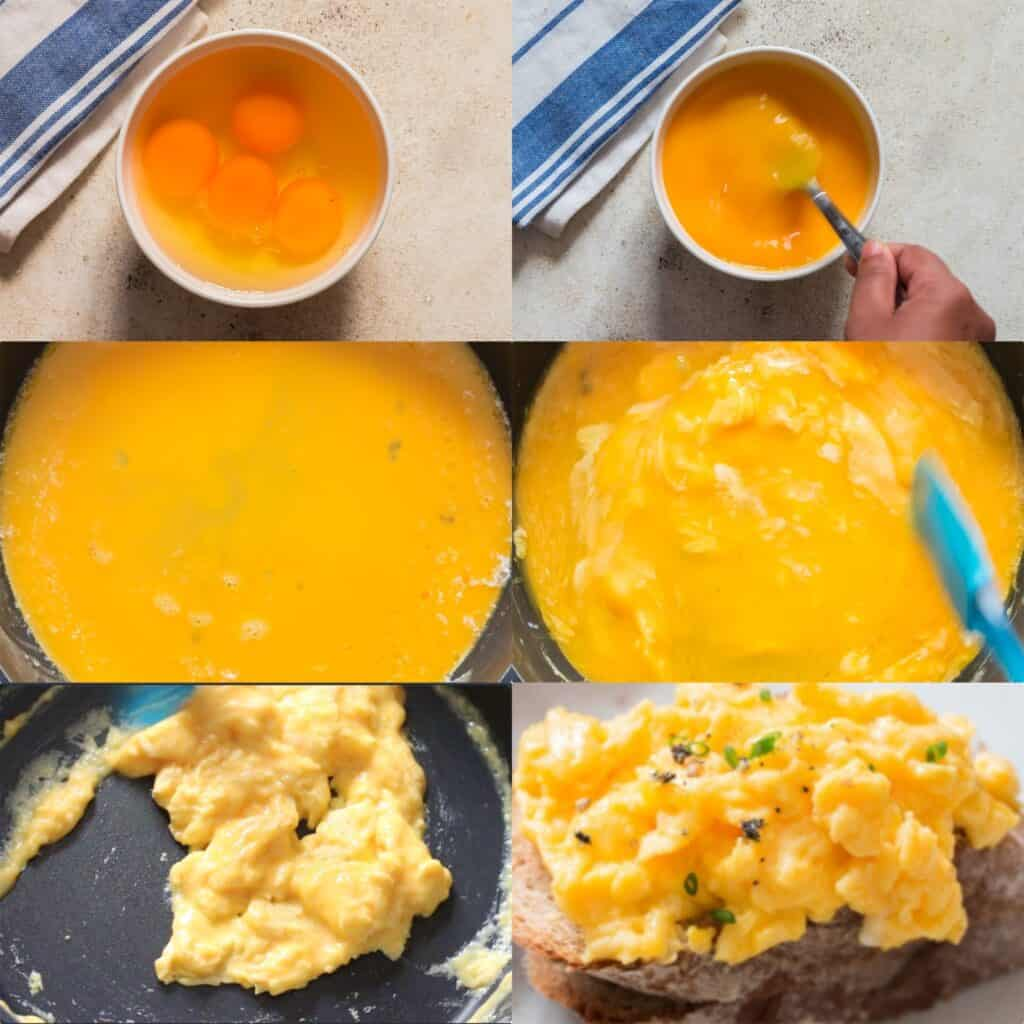 Step by step pictures how to make scrambled eggs