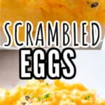 1 minute scrambled eggs served with bread toast with text