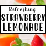 fresh lemonade with strawberries in glasses with text