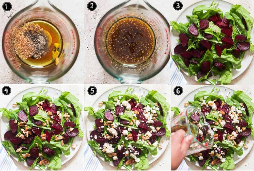 step by step pictorial collage of beet and feta cheese salad