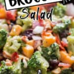 salad using broccoli in wooden bowl with text