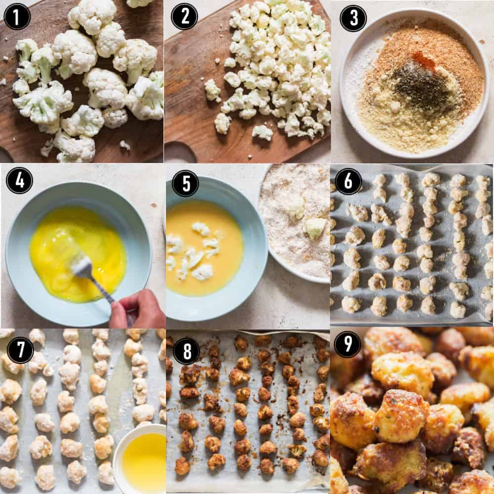 step by step pictorial collage of cauliflower popcorn recipe