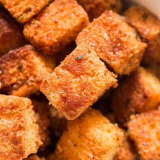 easy to make croutons made at home in bowl