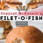 baked filet o fish burger on white plate with text