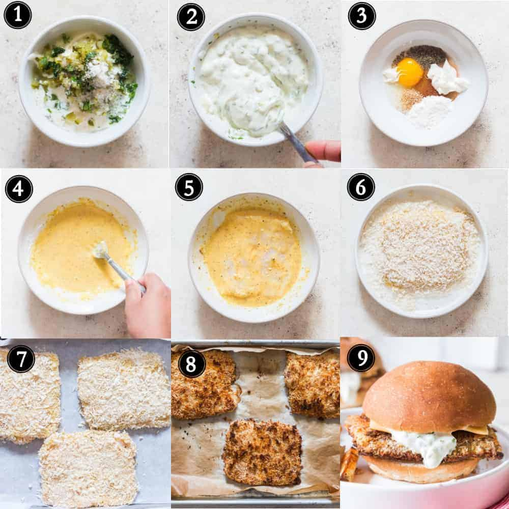 step by step picture collage of homemade filet o fish burger