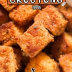 easy to make croutons made at home in with textbowl