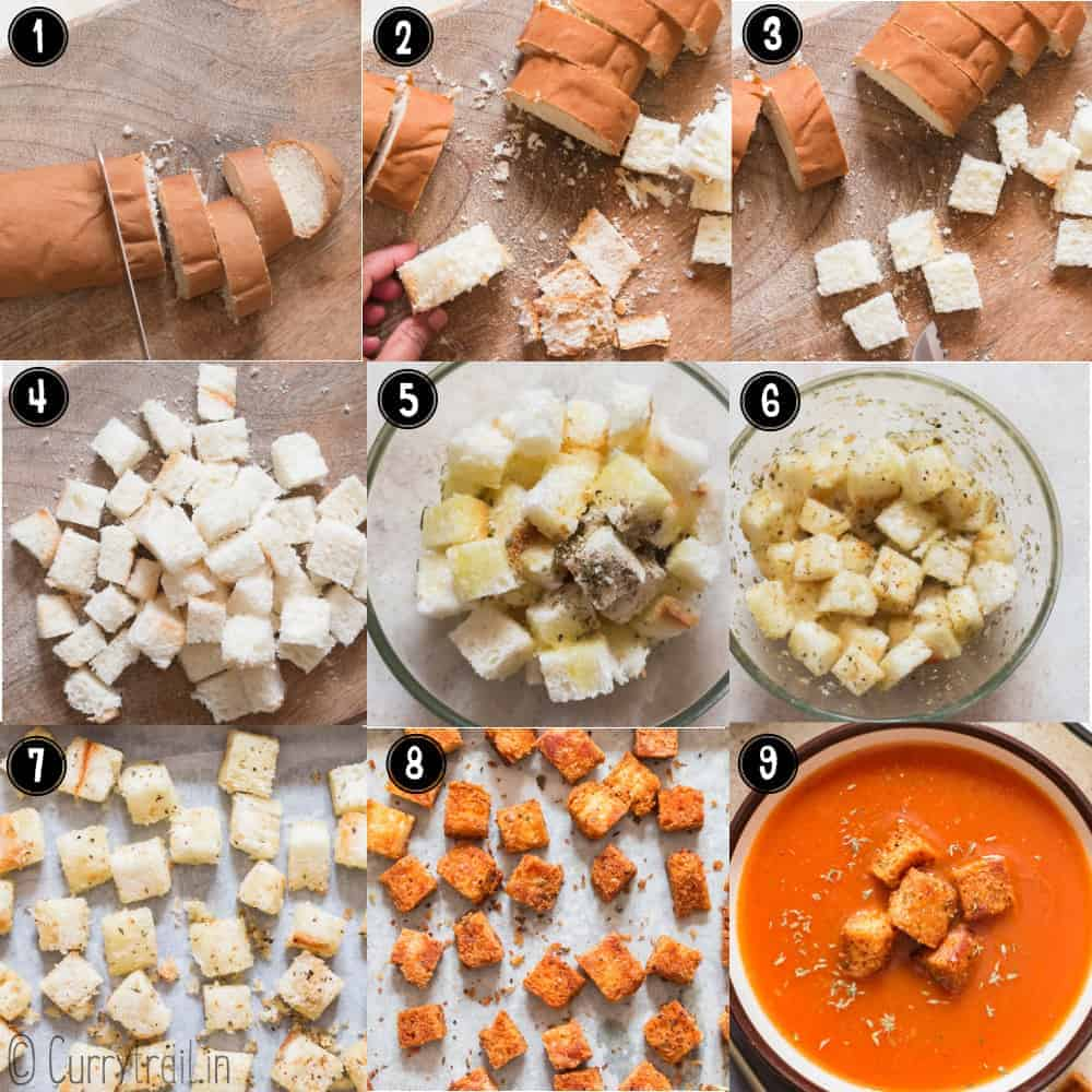 step by step pictorial instructions of how to make homemade croutons