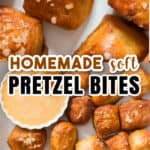 homemade pretzel in bite sizes on white tray with text overlay