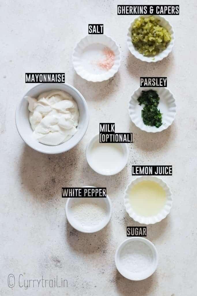 ingredients for tartare sauce