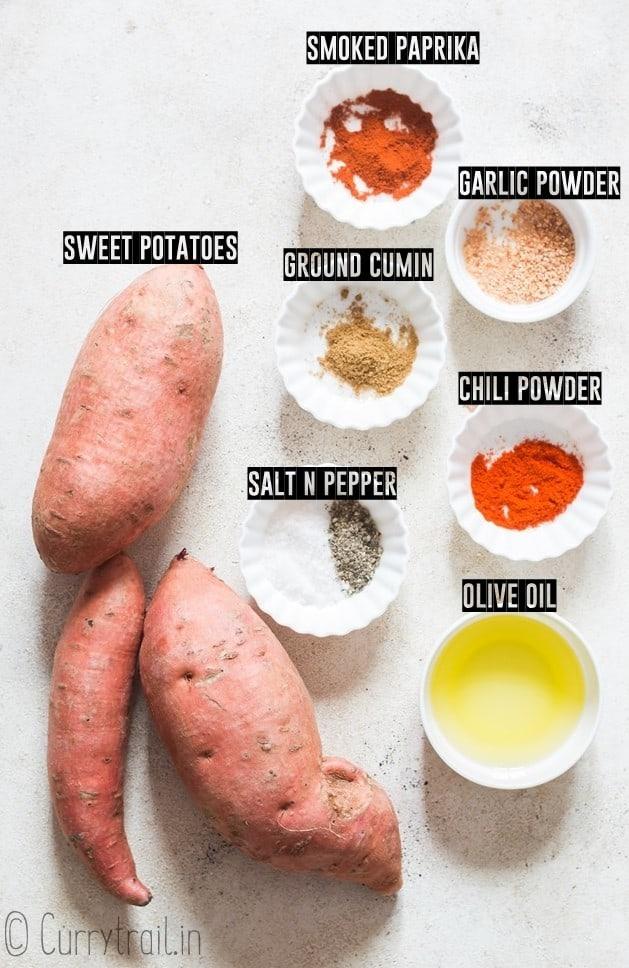 all ingredients for sweet potato roast on white board