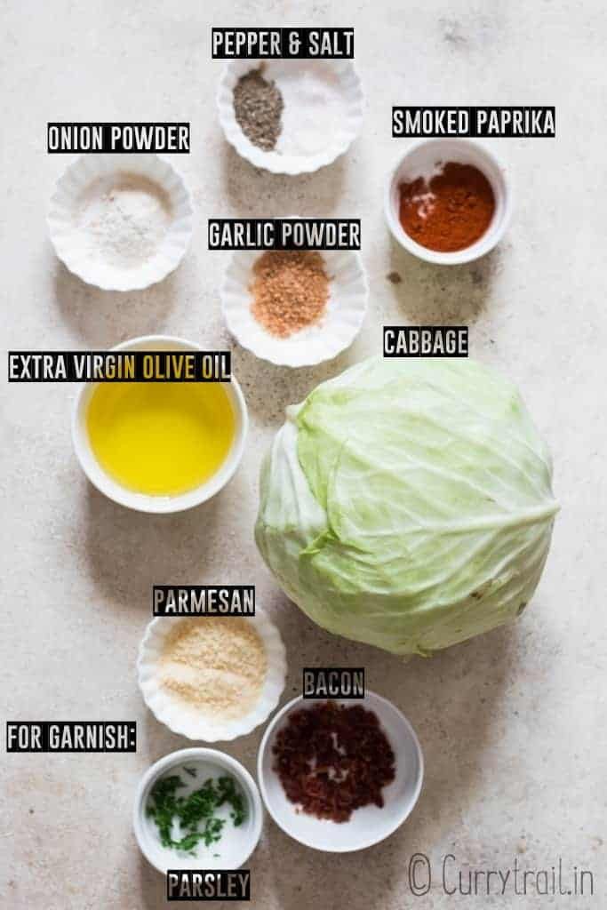 all ingredients for cabbage steaks