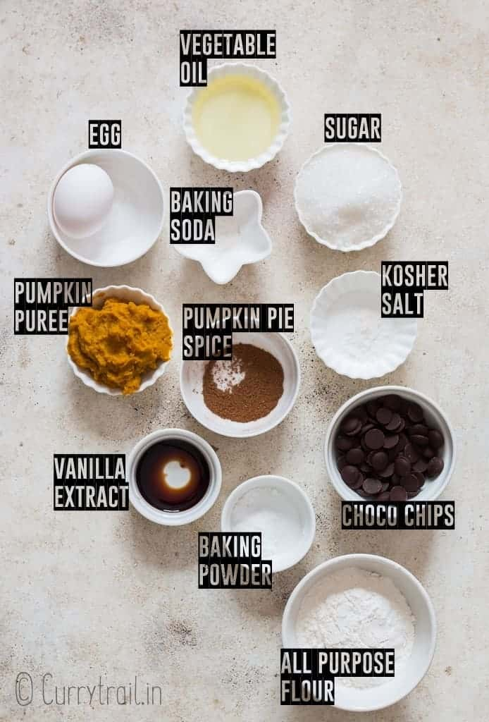 all ingredients for chocolate chip pumpkin muffins
