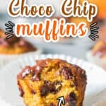 pumpkin chocolate chip muffins with text overlay