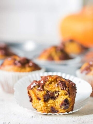 chocolate chip pumpkin muffins on paper liners