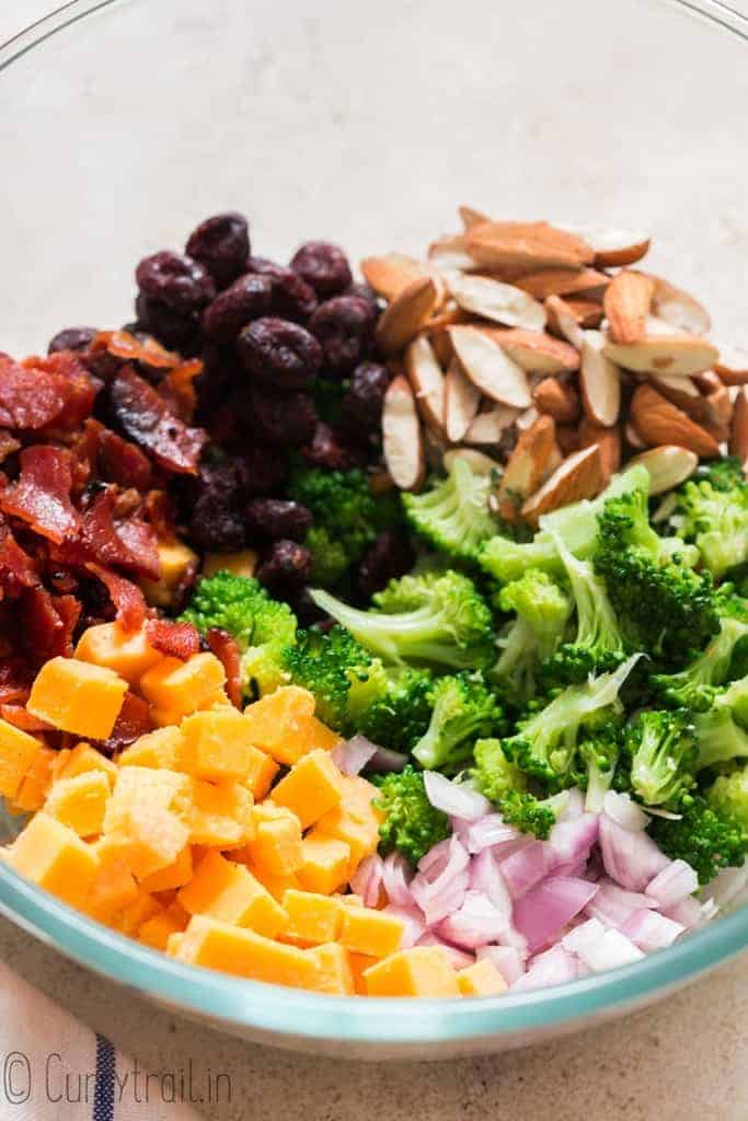 broccoli salad ingredients in a bowl