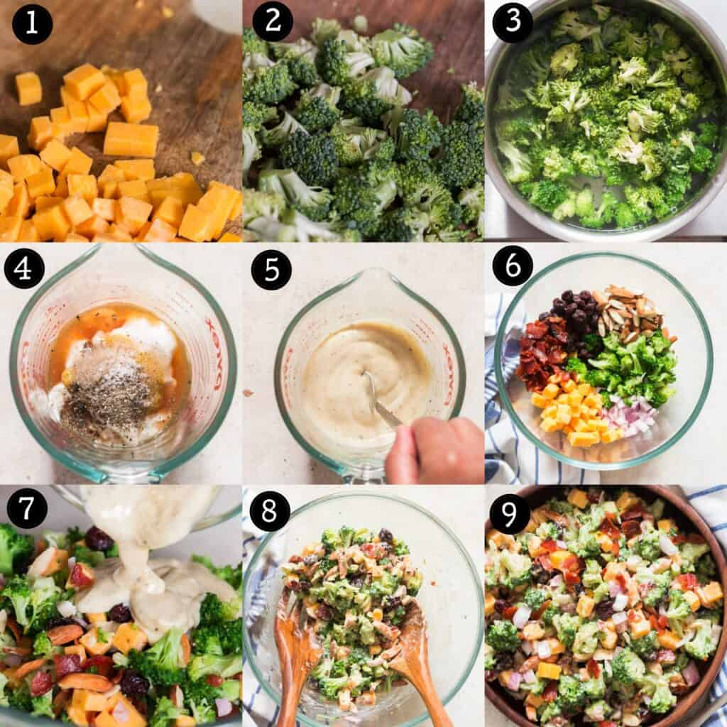 step by step pictorial instructions for broccoli salad recipe