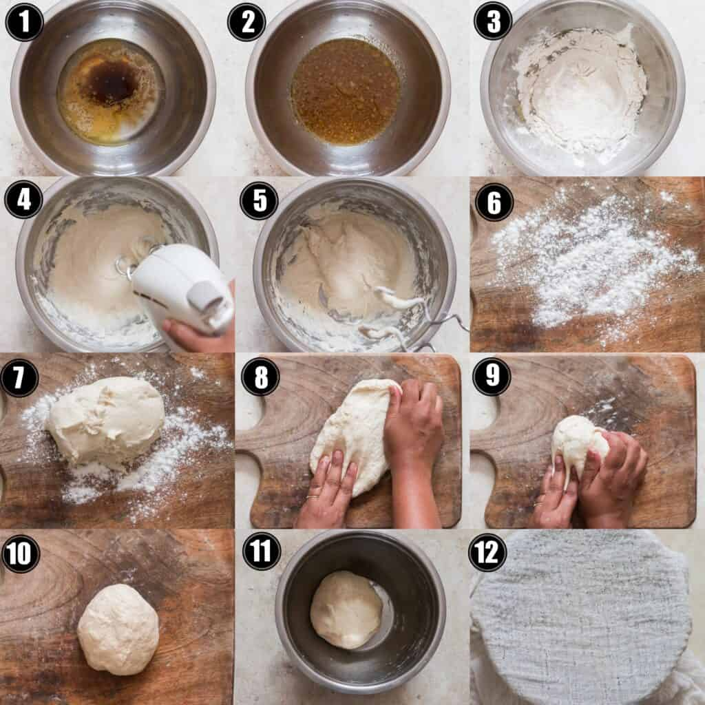 step by step photo collage of pretzel bites recipe