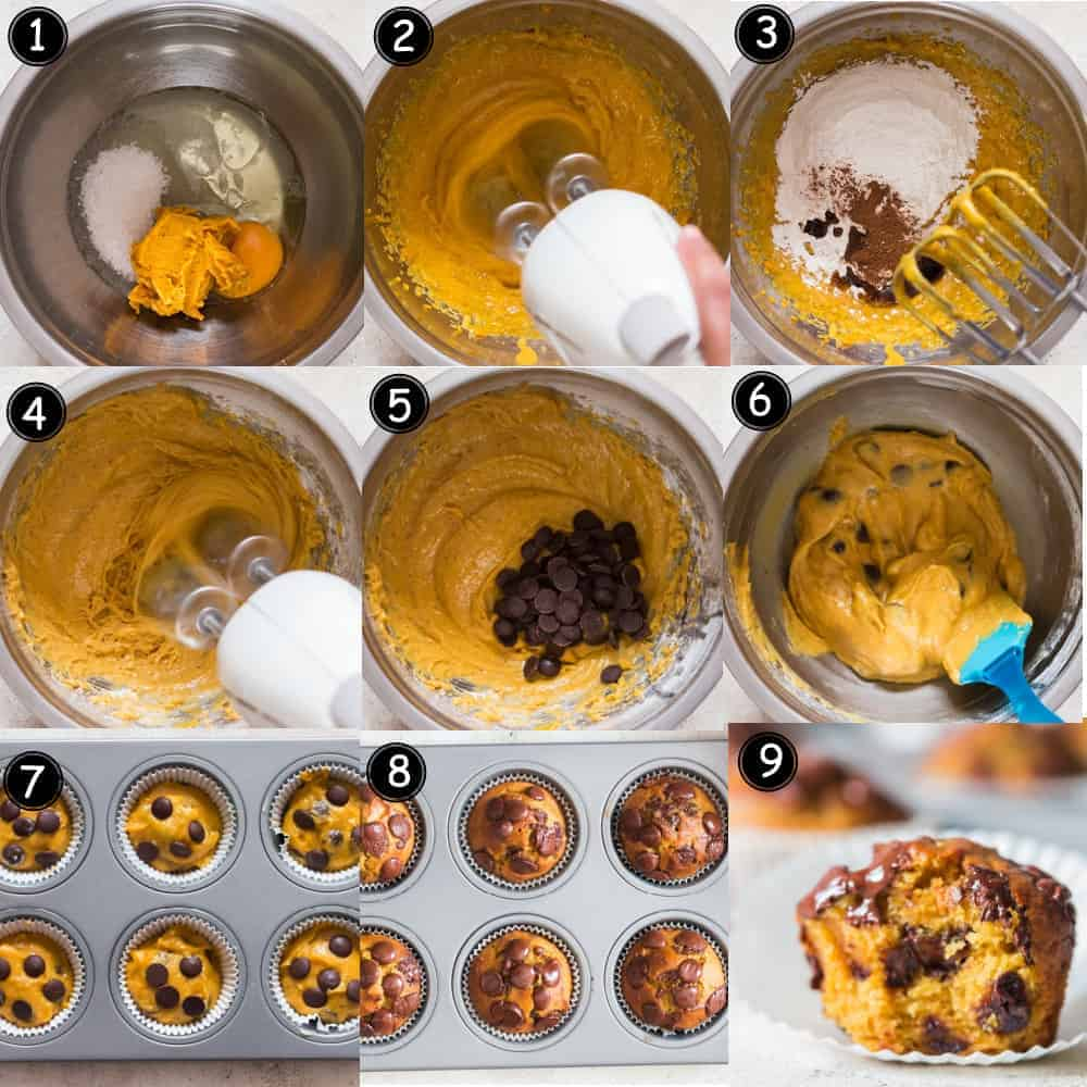 step by step pictorial collage for chocolate chip pumpkin muffins