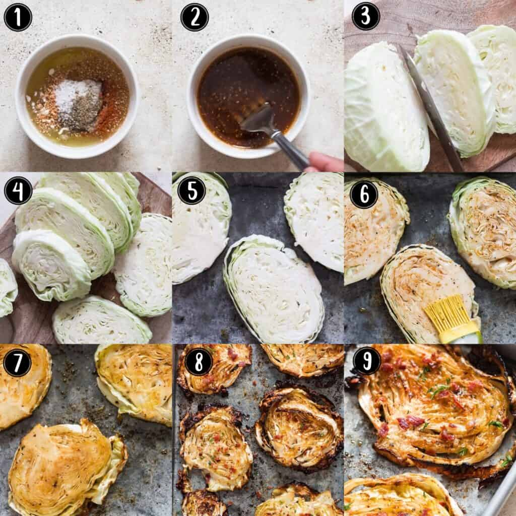 step by step picture collage of roasted cabbage steaks