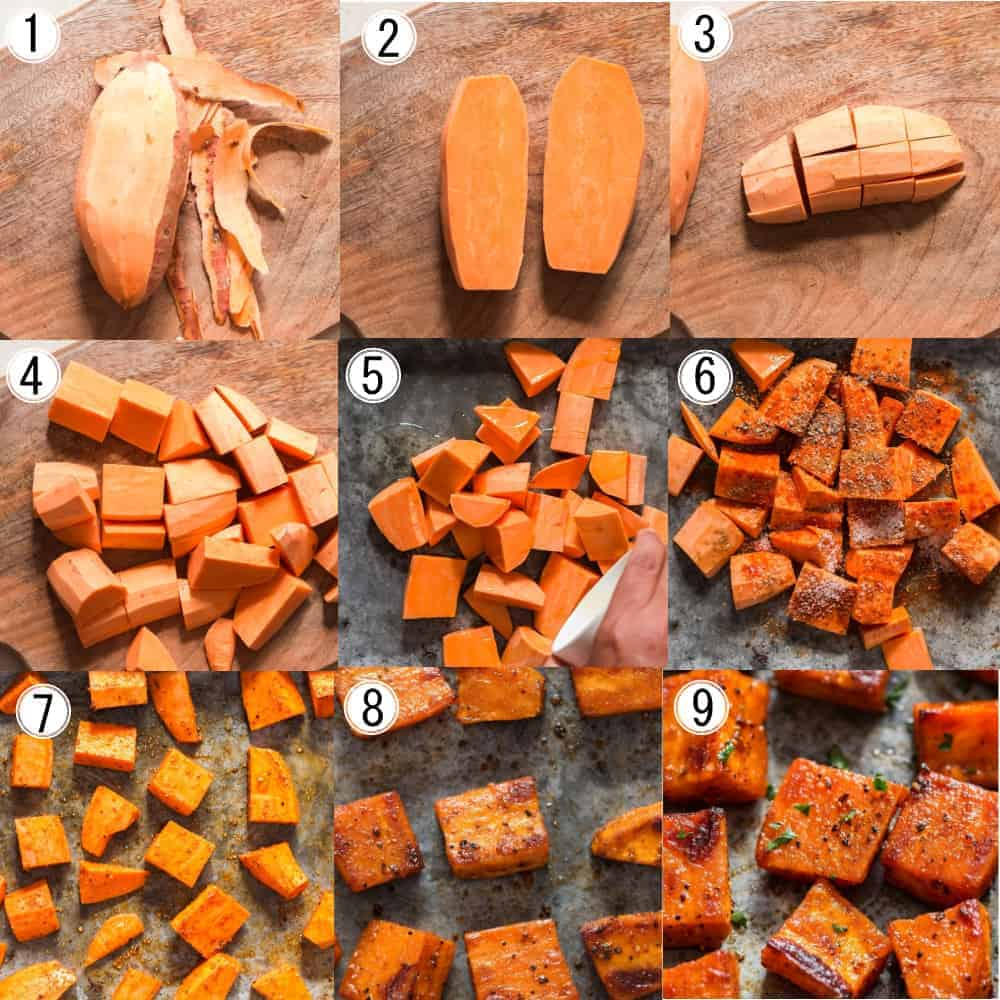 step by step picture collage on how to roast sweet potatoes