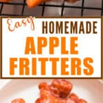 homemade fritters with apples with glaze with text overlay