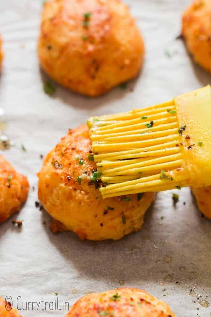 homemade easy drop biscuits with cheddar cheese and chives on baking tray