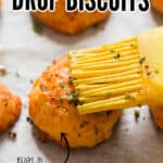 homemade easy drop biscuits with cheddar cheese and chives on baking tray with text