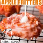 homemade glazed apple fritters on wire rack with text overlay