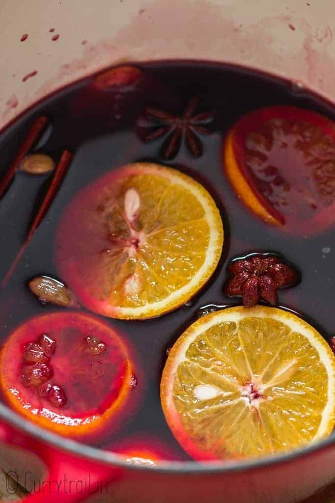 German mulled wine cooked on the stove top in a pot