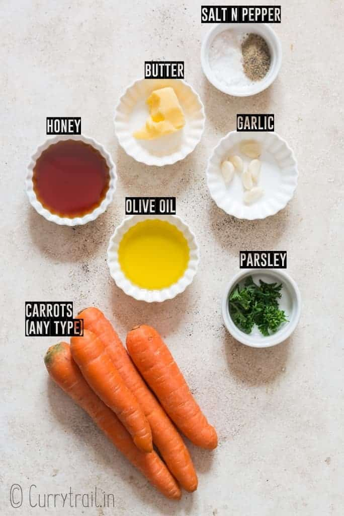 all ingredients for roasted honey glazed carrots