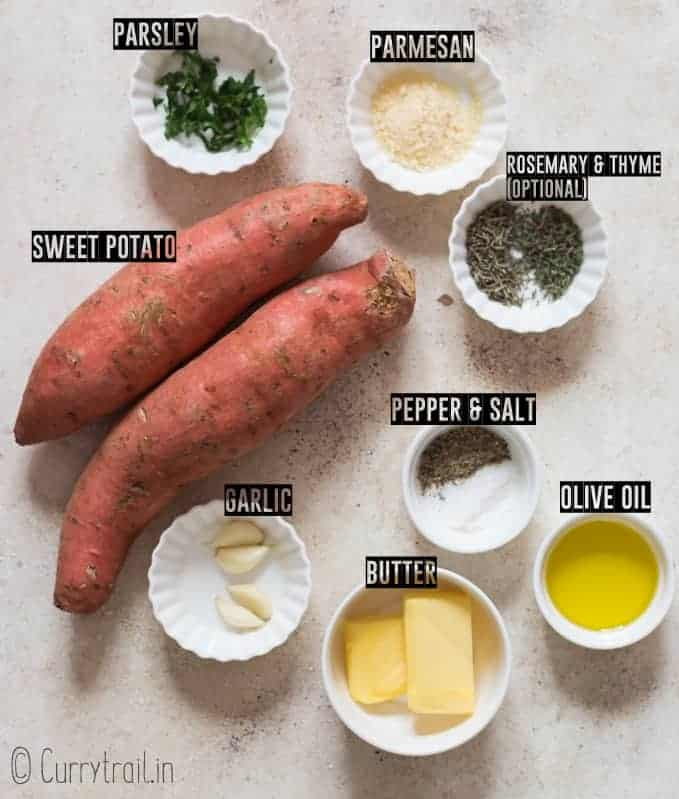 all ingredients for smashed sweet potatoes on white board