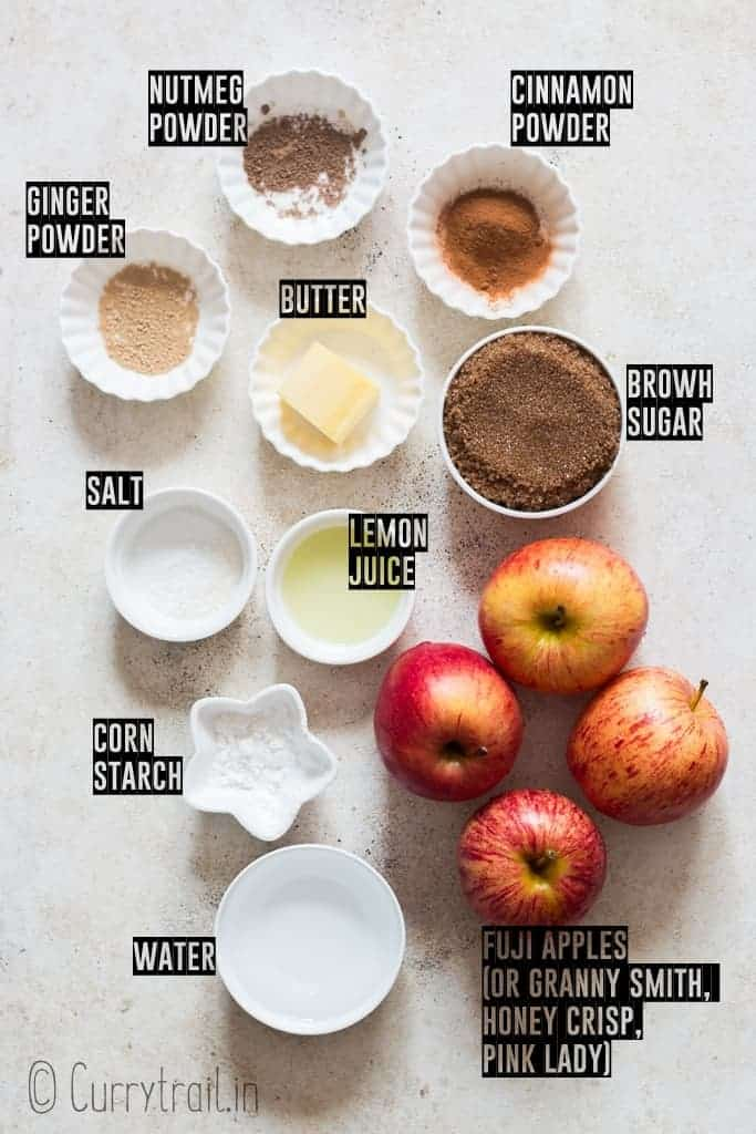 all ingredients for cinnamon apples