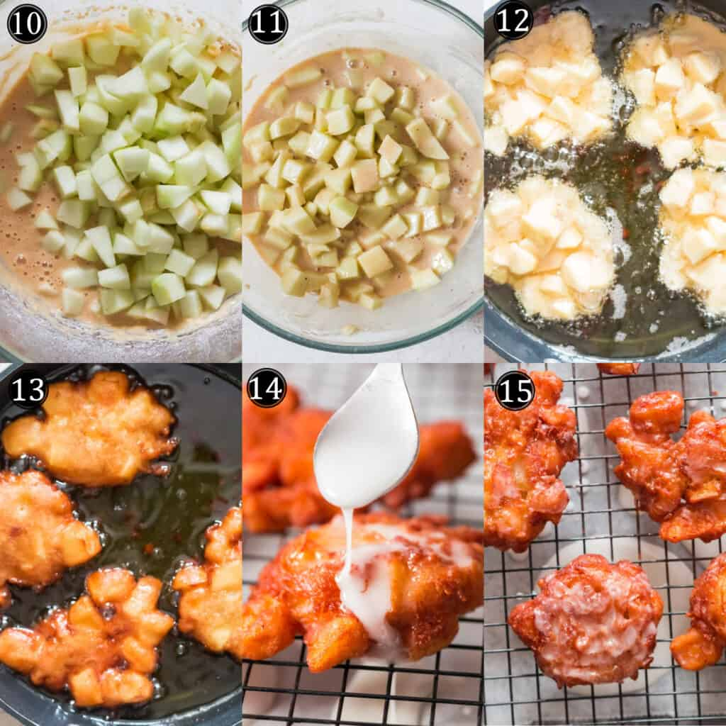 step by step pictorial of making apple fritters