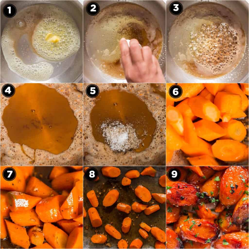 step by step pictorial of roasted honey glazed carrots recipe