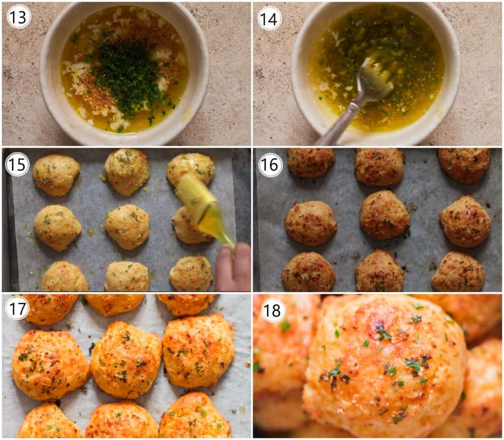 step by step pictorial collage on how to make cheddar drop biscuits