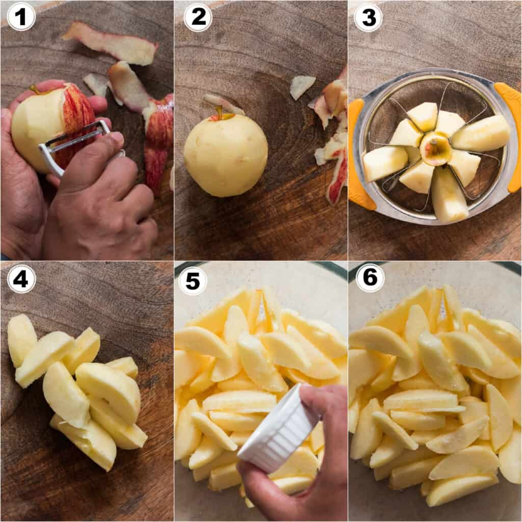 step by step picture collage of cinnamon apples