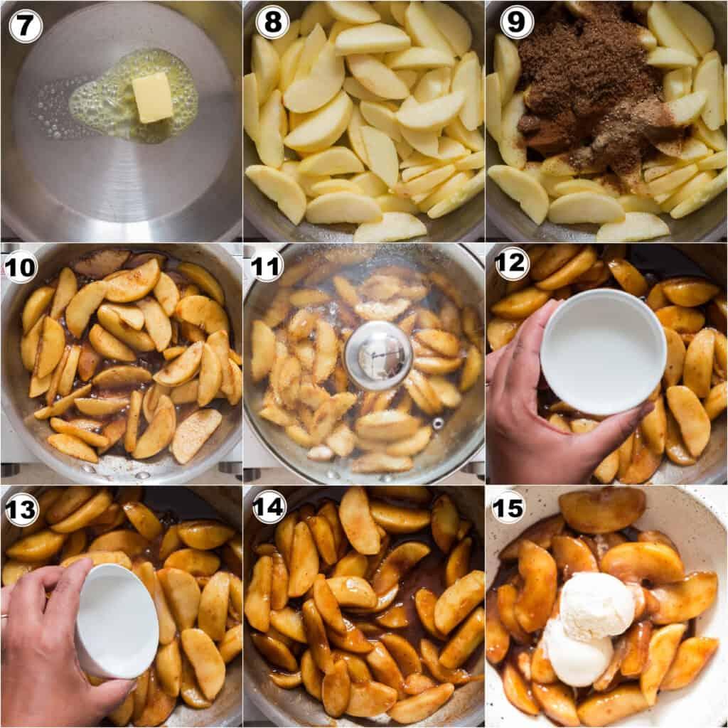 step by step of cooking cinnamon apples