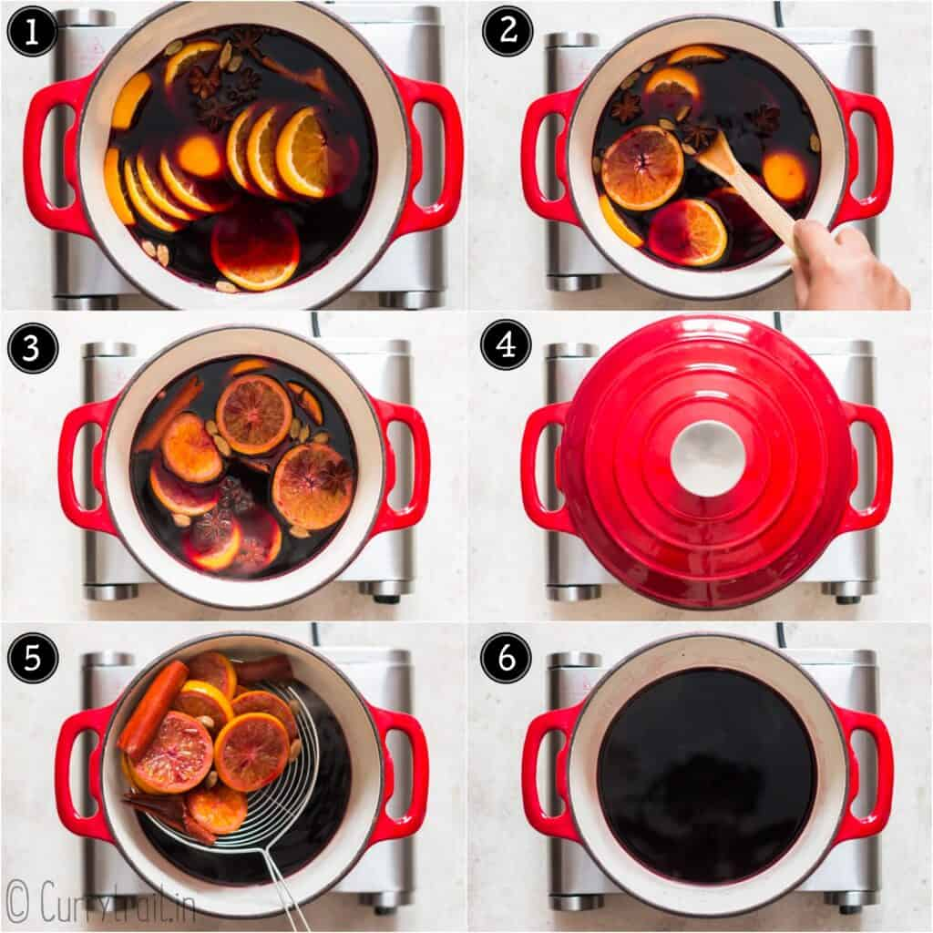 step by step picture collage of how to make mulled wine recipe