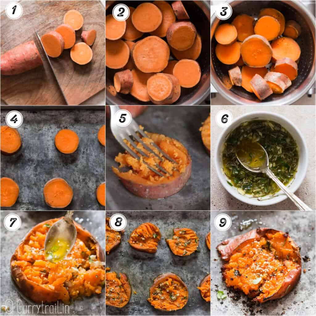 sweet potatoes smashed step by step pictorial collage