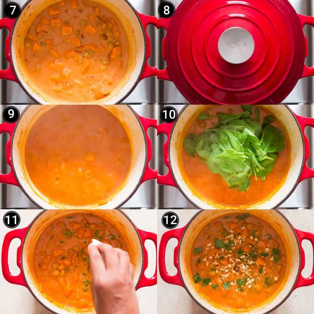sweet potato curry step by step picture collage