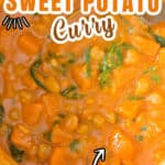 sweet potato chickpea curry in pot with text