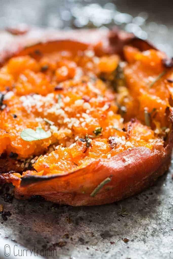 smashed sweet potatoes on baking tray