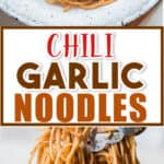 butter garlic noodles in white ceramic plate with text overlay