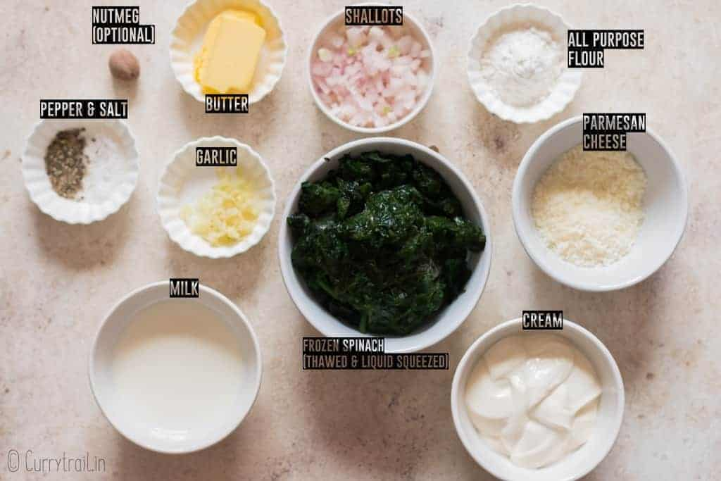 all ingredients for creamed spinach on white board